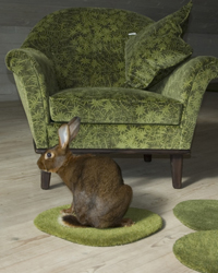 """Moss"" , handprint on velvet, on armchair and cushion"