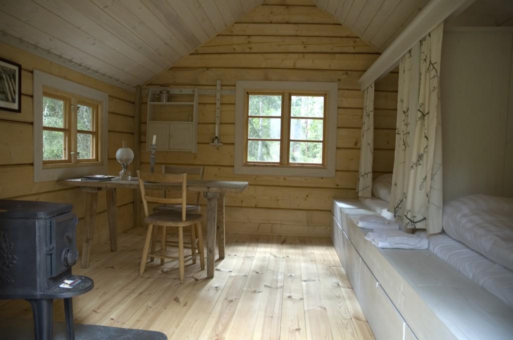 interior of Pilgrim cottage, wood-hermitage, Urnatur